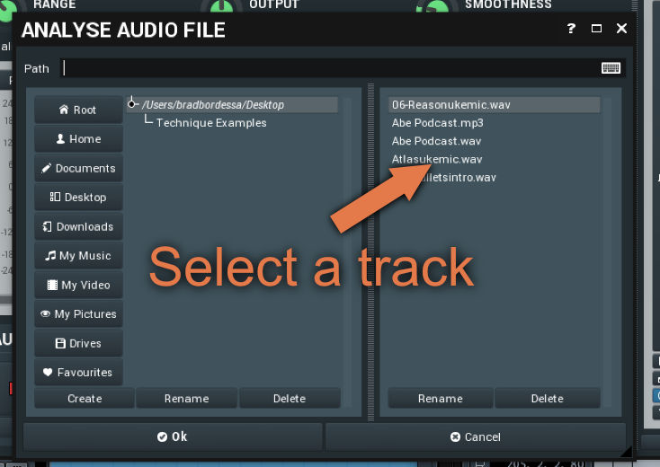 how to select track analyse mfreeformeq