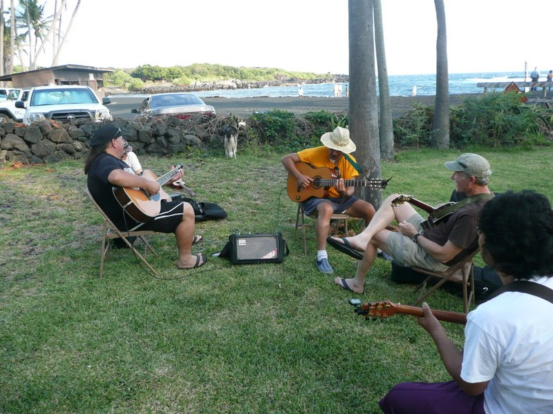 Uncle Sonny and Uncle Moses jamming at Punalu'u