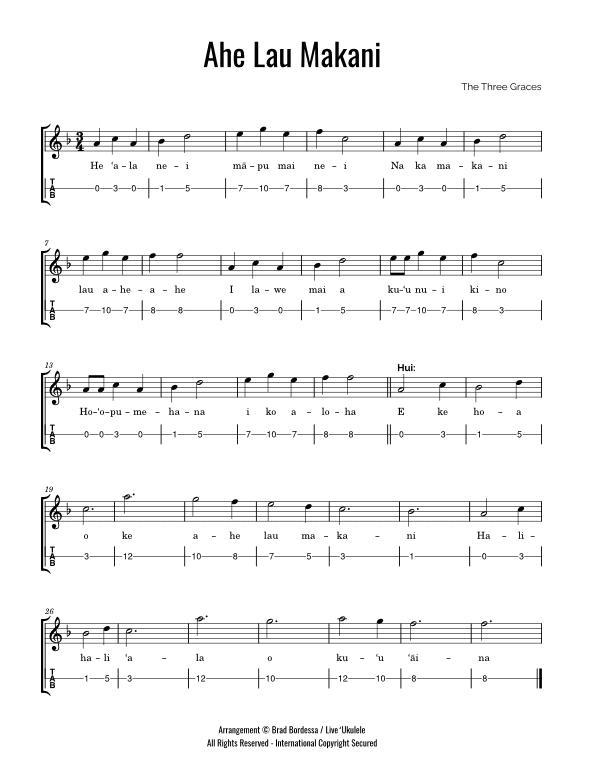 ahe lau makani ukulele tab preview