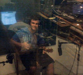 My 'ukulele-wiz roomie in the recording booth. I think he played only two, maybe three, takes to get a performance he liked.