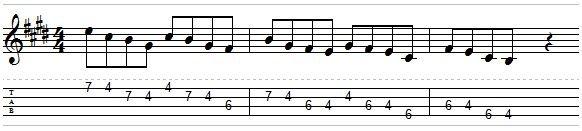 e pentatonic sequence groups of 4