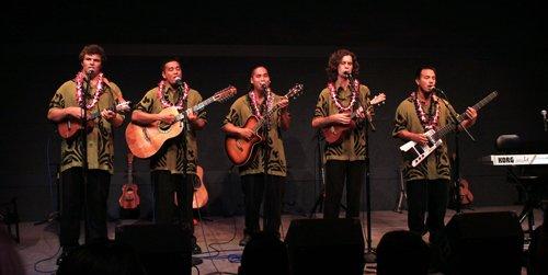 hawaiian band with aloha shirts