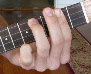 b minor ukulele chord