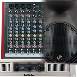Allen & Heath mixer, QSC poweramp, Mackie speaker