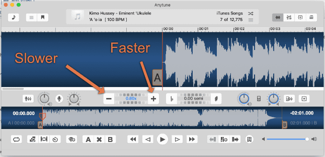 tempo change buttons anytune slower faster