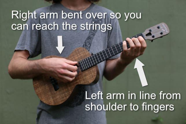 arm positioning for holding ukulele