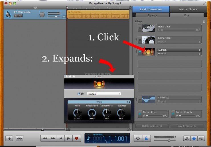 screenshot editing aupitch to change pitch garageband