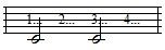 half note with counts