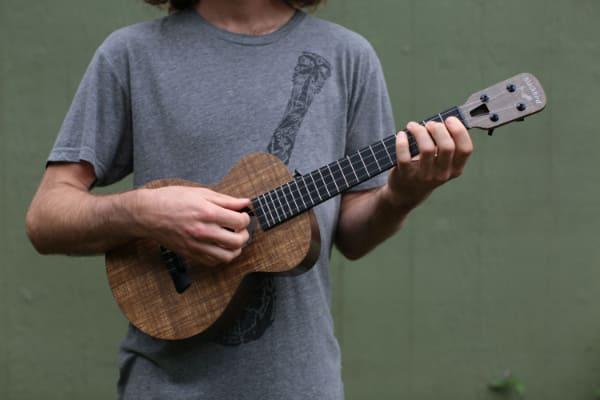 wide angle of how to hold an ukulele