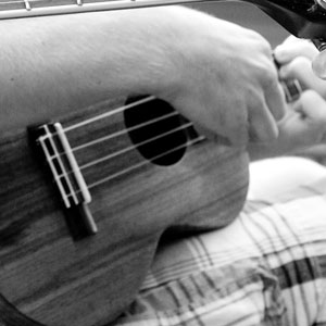 black and white ukulele