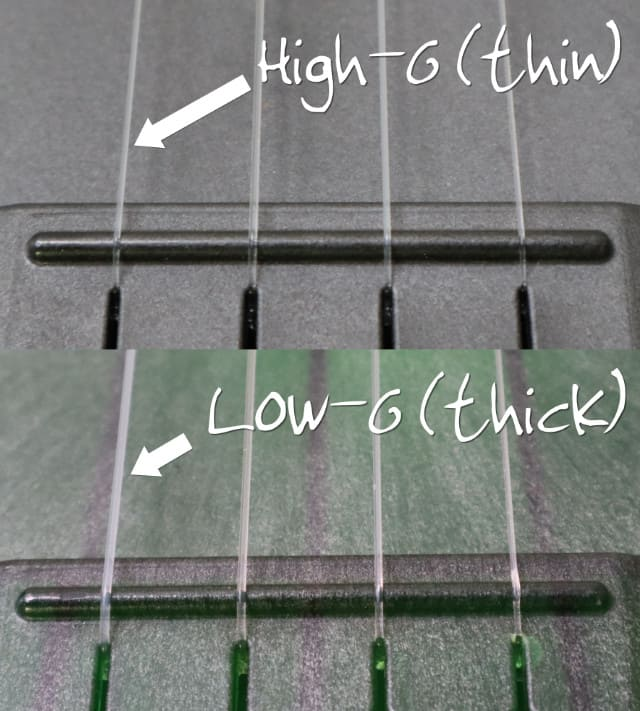 high g low g ukulele string size comparison