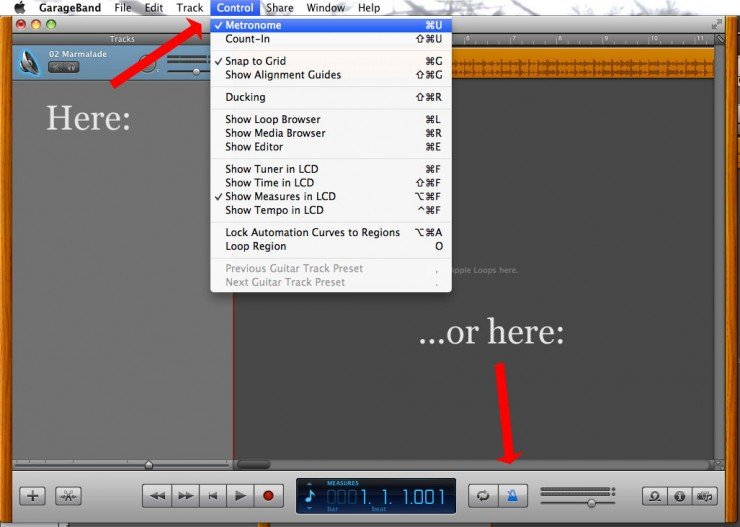 screenshot turning off metronome garageband