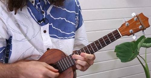 close up camera of ukulele lesson