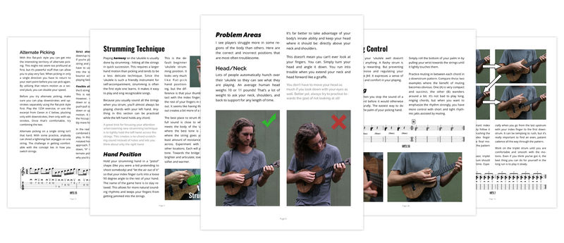 page spread of right hand technique for ukulele