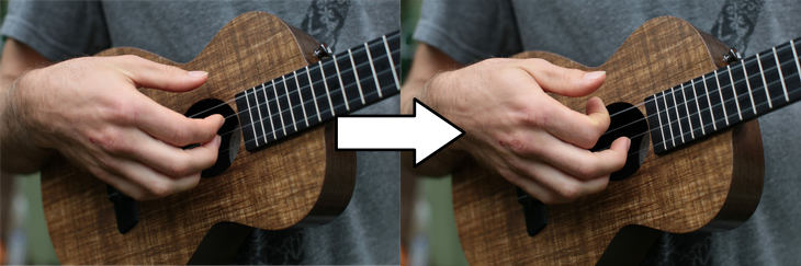index finger picking before after ukulele