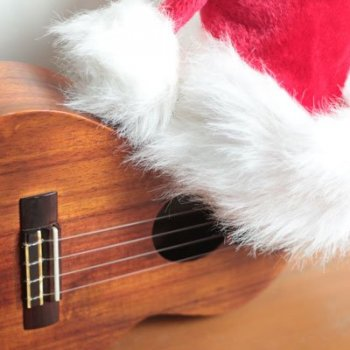 ukulele with santa hat